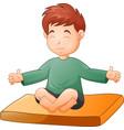 little boy doing yoga pose on white background vector image vector image