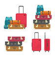 luggage bags heap and suitcase plastic case vector image