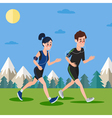Man and Woman with Headphones Running vector image vector image