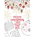 merry christmas creative handdrown card with vector image vector image