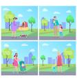 mother walking with kid newborn child in pram vector image vector image