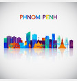 phnom penh skyline silhouette vector image vector image