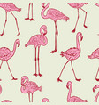 seamless background of the cartoon pink flamingos vector image vector image