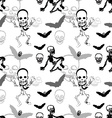 Seamless pattern of skeleton skull and bat on vector image vector image