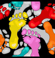 seamless pattern with colorful footprints vector image