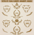 Set of golden monograms with floral elements for