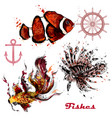 set of hand drawn fishes in watercolor style vector image