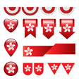 set of hong kong flag icon and label vector image
