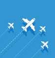 white aircraft on a blue background vector image vector image