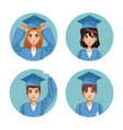 young students cartoons vector image vector image