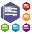 american flag icons set hexagon vector image