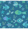 Marine Seamless Abstract Ornament with Fish vector image