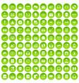 100 headphones icons set green circle vector image vector image