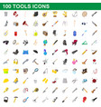 100 tools icons set cartoon style vector image vector image