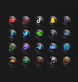 3d popular social media network modern black vector image vector image