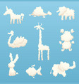 animals from clouds various shapes cartoon vector image vector image