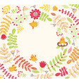 birds on a floral background cute frame for text vector image