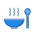 bowl of soup line icon vector image vector image