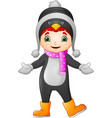 cartoon little girl wearing winter clothes vector image