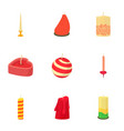 christmas candle icons set cartoon style vector image vector image