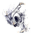 Colored hand sketch fighting judo vector image vector image