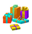 colorful gift composition in cartoon style vector image