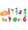 colorful set of childish numbers with cartoon cat vector image vector image