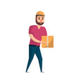 courier with delivery box icon in flat style vector image vector image