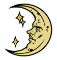 crescent with human face colorful concept vector image