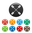 cross paddle icons set color vector image