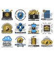 cryptocurrency blockchain digital bitcoin mining vector image