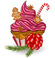 cupcake with gingerbread cookies vector image vector image