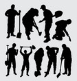 digger and worker people activity silhouette vector image