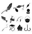 fishing and rest black icons in set collection vector image vector image