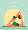 girl in yoga one-leg king pigeon pose vector image
