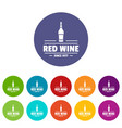 glass wine icons set color vector image vector image