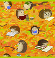 hedgehogs are reading in autumn forest a cute vector image
