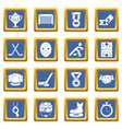hockey icons set blue square vector image vector image