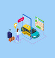 isometric ordering online taxi and call a taxi vector image vector image