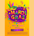 mardi gras flyer with inviting for carnival party vector image vector image