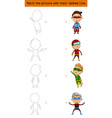 match the picture set of character superhero kids vector image vector image