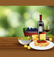 meal with wine scene vector image vector image