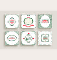 Merry christmas vintage design greeting card set