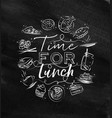 monogram time for lunch chalk vector image vector image