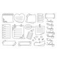 notebook paper black line note set sticker notepad vector image vector image