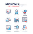 photo processing - line design style icons set vector image vector image