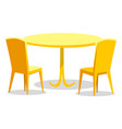 plastic chairs and table furniture to seat vector image vector image