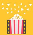 popcorn popping film strip line pop corn red vector image vector image