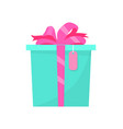 present green box decorated big pink bow and tag vector image vector image