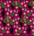 purple mallow flower seamless pattern vector image